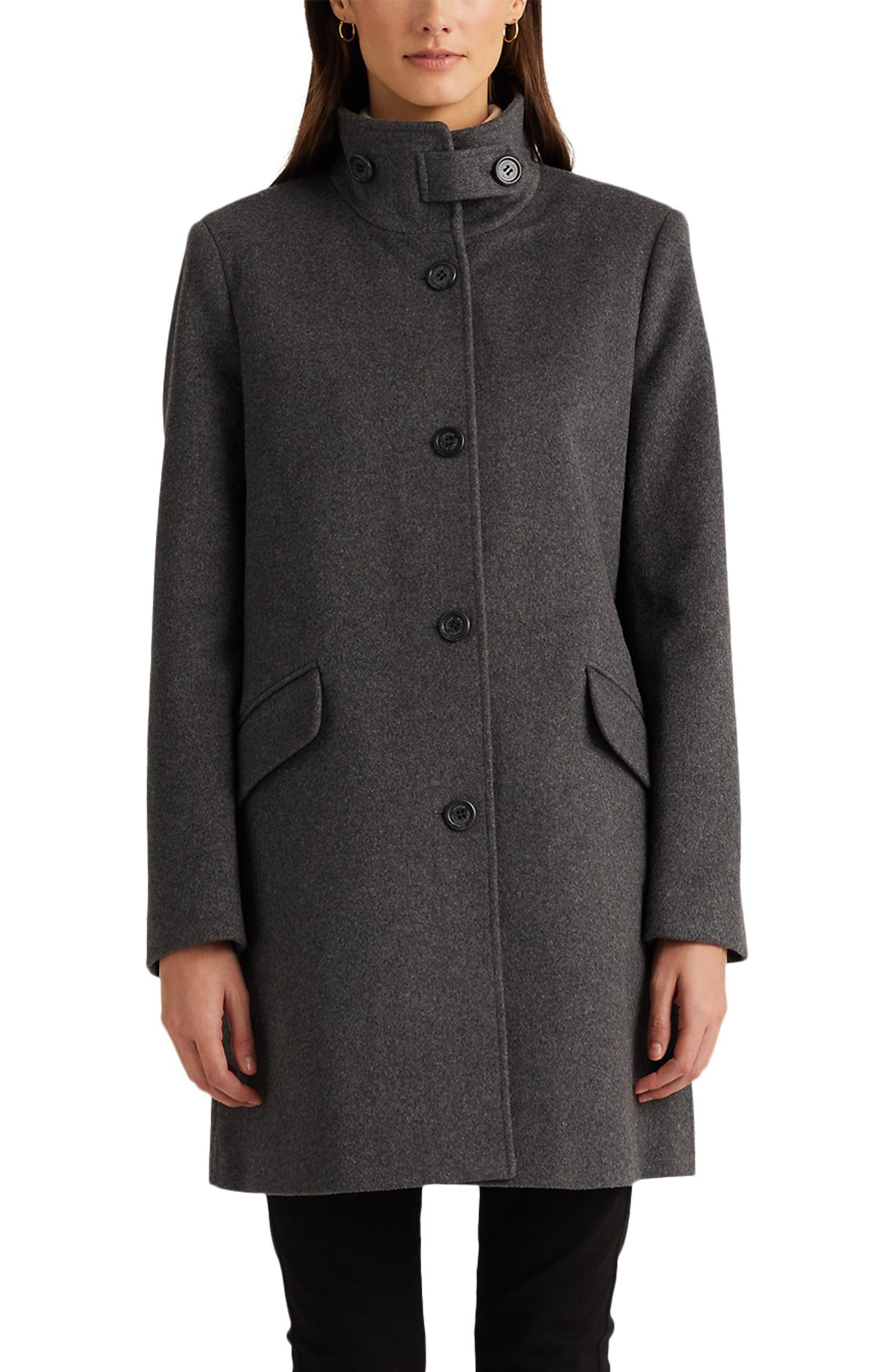 Image of Lauren Ralph Lauren Balmacaan Wool Blend Coat