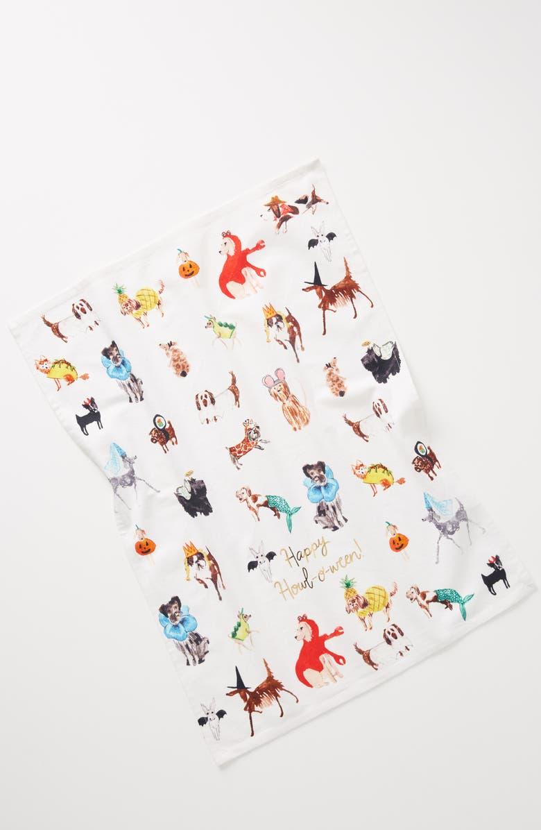 ANTHROPOLOGIE x Pauline de Roussy de Sales Happy Howl-o-ween Dishtowel, Main, color, WHITE MULTI
