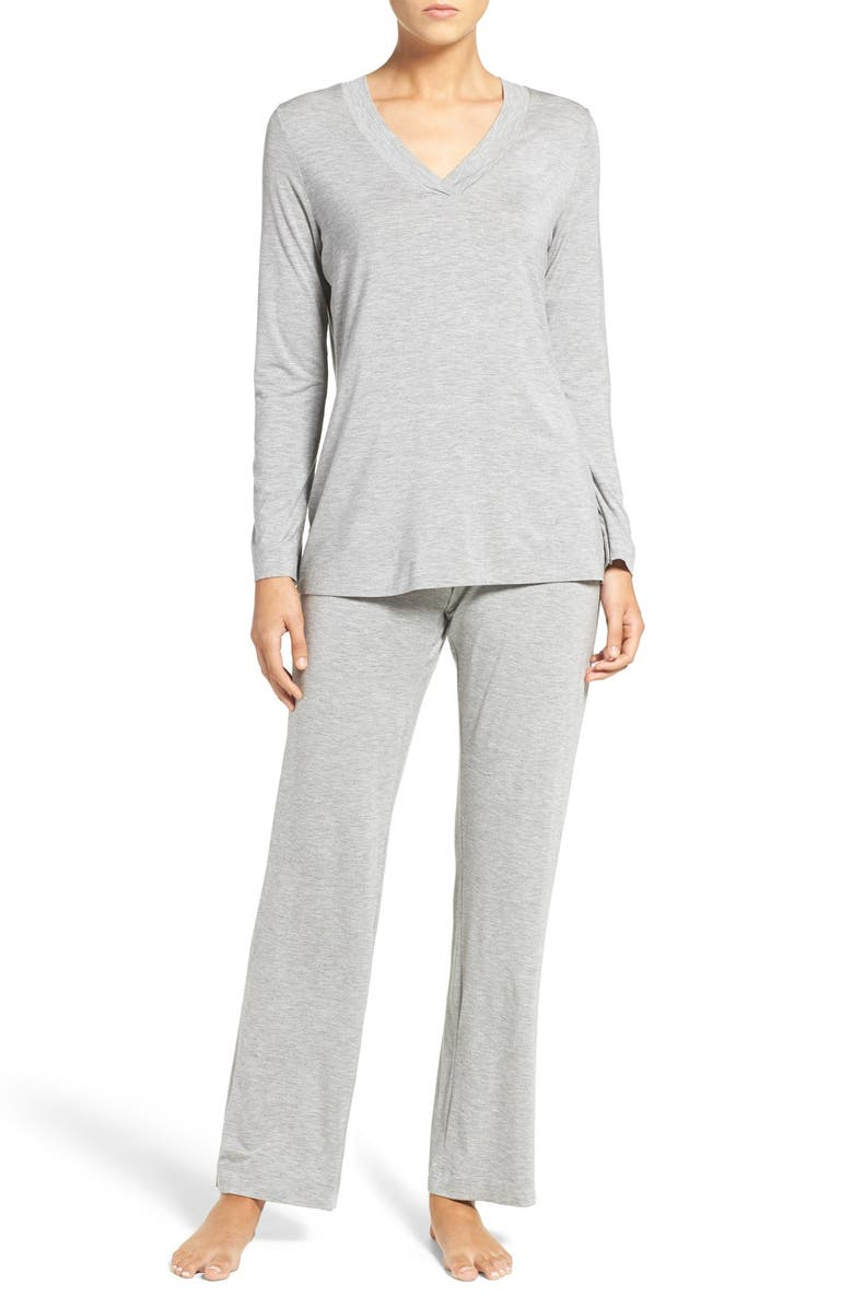 HANRO Knit Pajamas, Main, color, GREY MELANGE 958