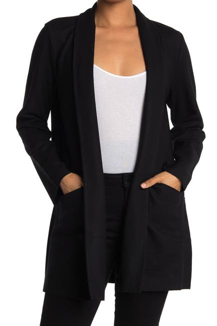 Image of Eileen Fisher Shawl Collar Open Front Wool Jacket