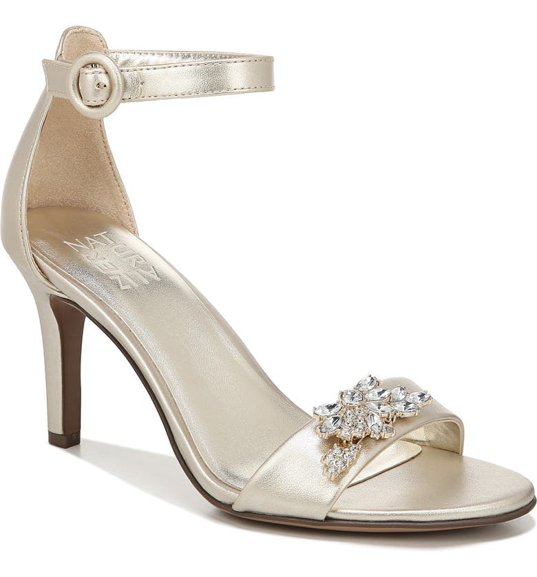 NATURALIZER Kinsley Sandal, Main, color, CHAMPAGNE FAUX LEATHER