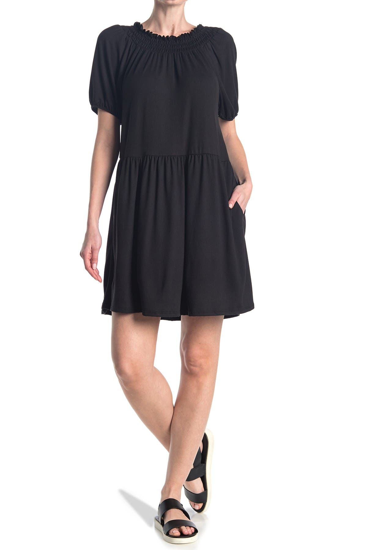 Image of Velvet Torch Puff Sleeve Smock Dress