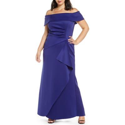 Plus Size Xscape Off The Shoulder Ruffle Gown, Blue