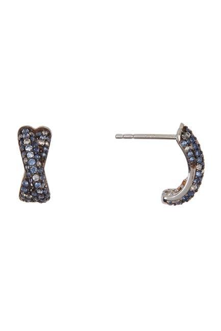 Image of Suzy Levian Sterling Silver Crisscross Sapphire Earrings
