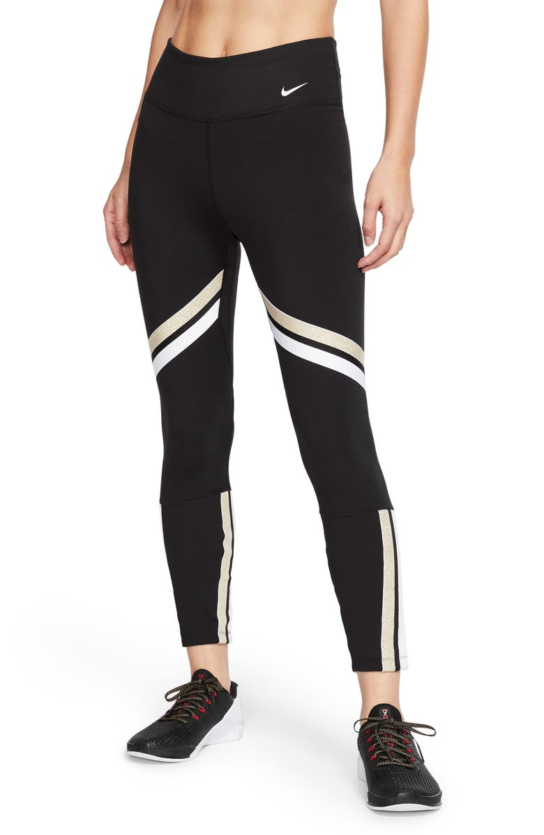 NIKE Rebel Icon Class Dri-FIT Fleece Training Pants, Main, color, BLACK/ METALLIC GOLD/ WHITE