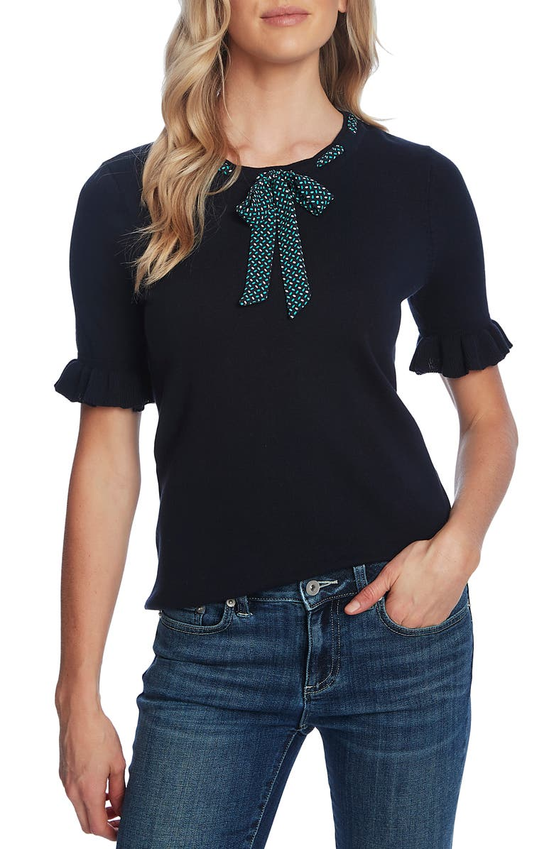 CECE Ruffle Sleeve Tie Neck Sweater, Main, color, NIGHT SHADE