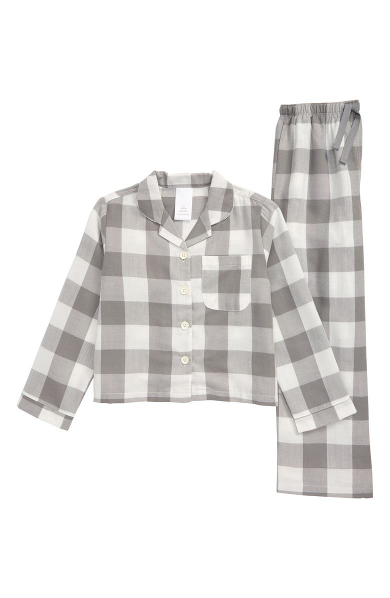 NORDSTROM Two-Piece Flannel Pajamas, Main, color, GREY FROST CHECK