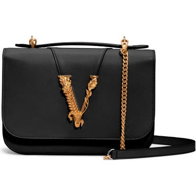 Versace V Leather Top Handle Bag - Black