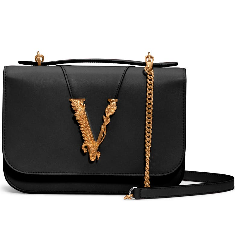 VERSACE FIRST LINE V Leather Top Handle Bag, Main, color, BLACK/ TRIBUTE GOLD/ PALLADIUM
