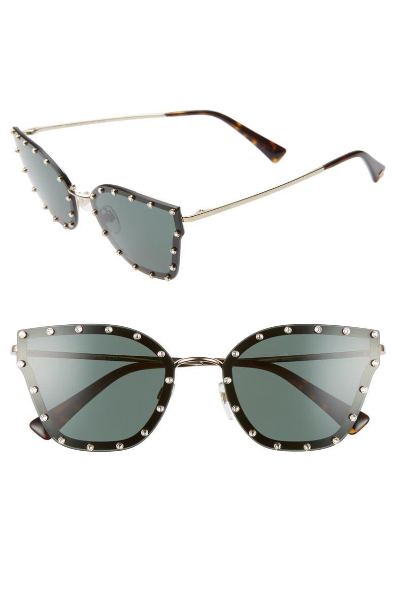 VALENTINO 59mm Cat Eye Sunglasses, Main, color, BLACK/ GOLD