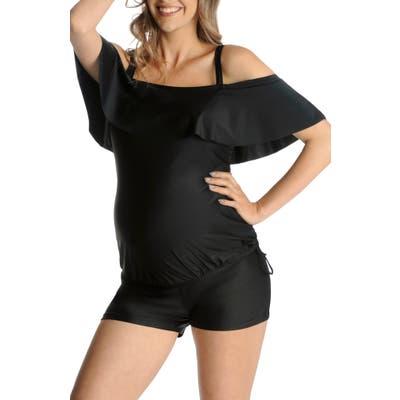 Mermaid Maternity Ruffle Maternity Tankini Top, Black