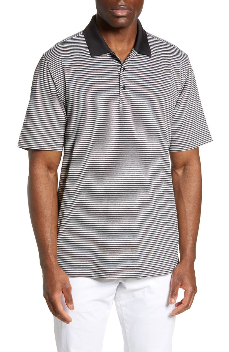 CUTTER & BUCK Forge DryTec Classic Fit Stripe Performance Polo, Main, color, BLACK