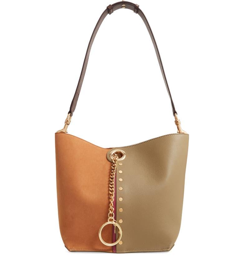 SEE BY CHLOÉ Gaia Leather Shoulder Bag, Main, color, SAFARI KHAKI