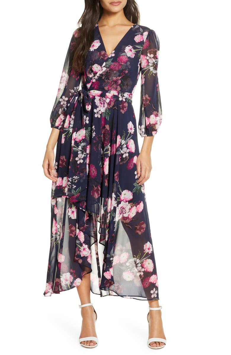 ELIZA J Flower Print High/Low Dress, Main, color, NAVY