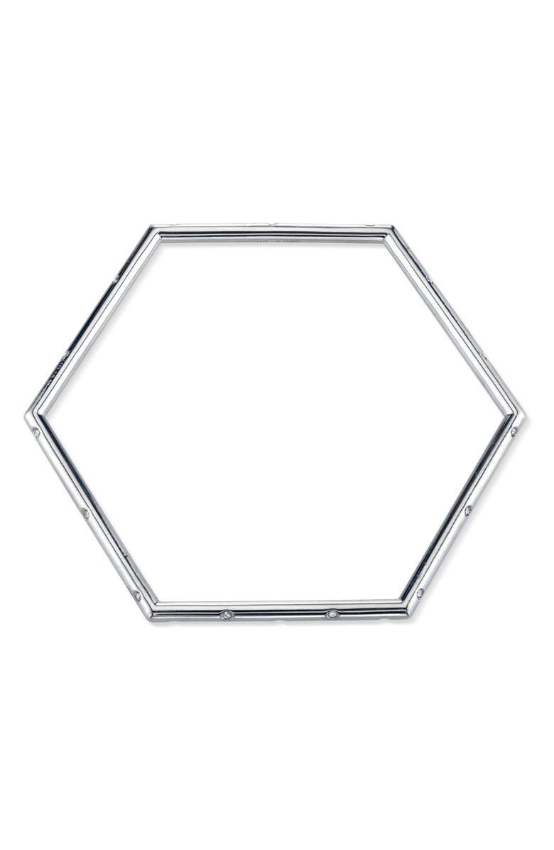 SHERYL LOWE Scatter Pavé Diamond Hexagon Bangle, Main, color, STERLING SILVER