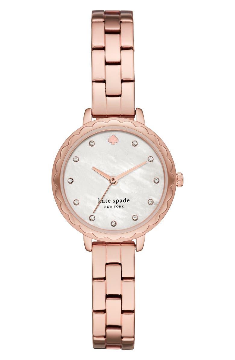 KATE SPADE NEW YORK morningside bracelet watch, 28mm, Main, color, ROSE GOLD/ MOP/ ROSE GOLD
