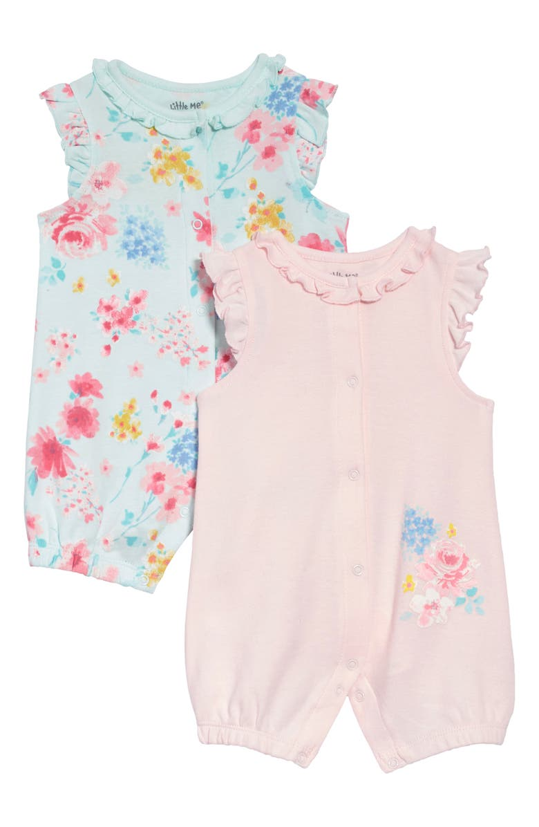 LITTLE ME Watercolor 2-Pack Rompers, Main, color, PINK FLORAL