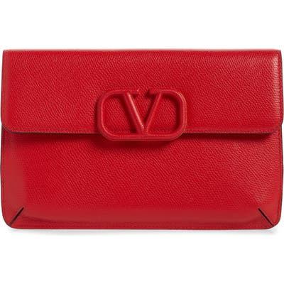 Valentino Garavani V-Sling Leather Flat Pouch - Red