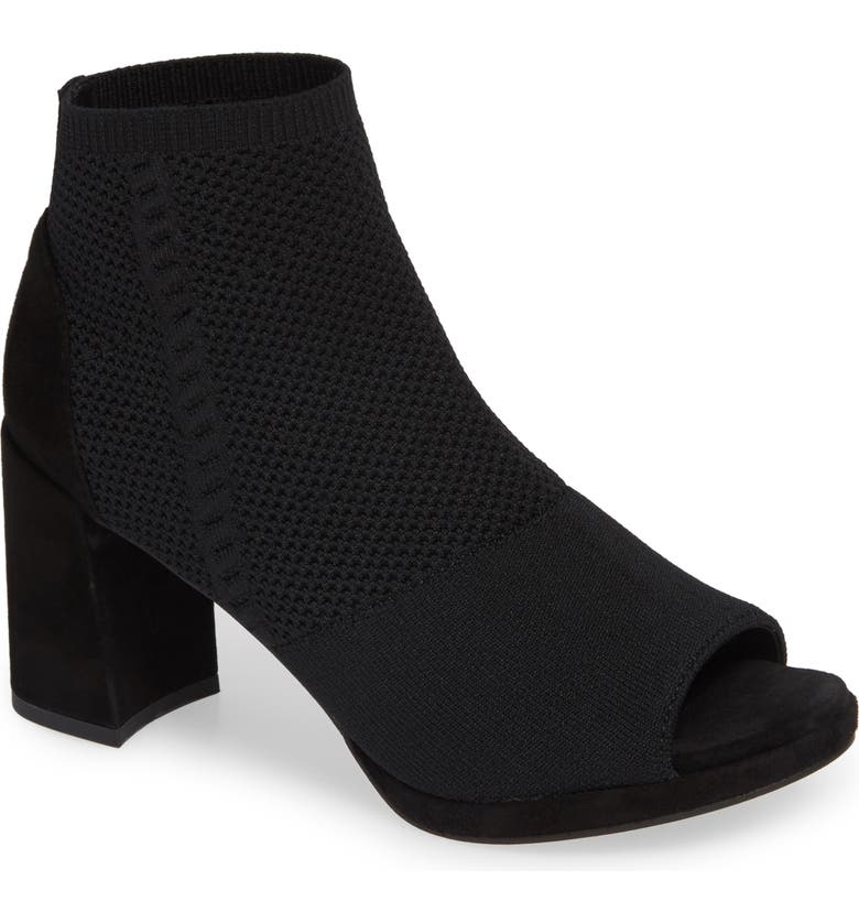 EILEEN FISHER Margate Peep Toe Bootie, Main, color, BLACK STRETCH FABRIC