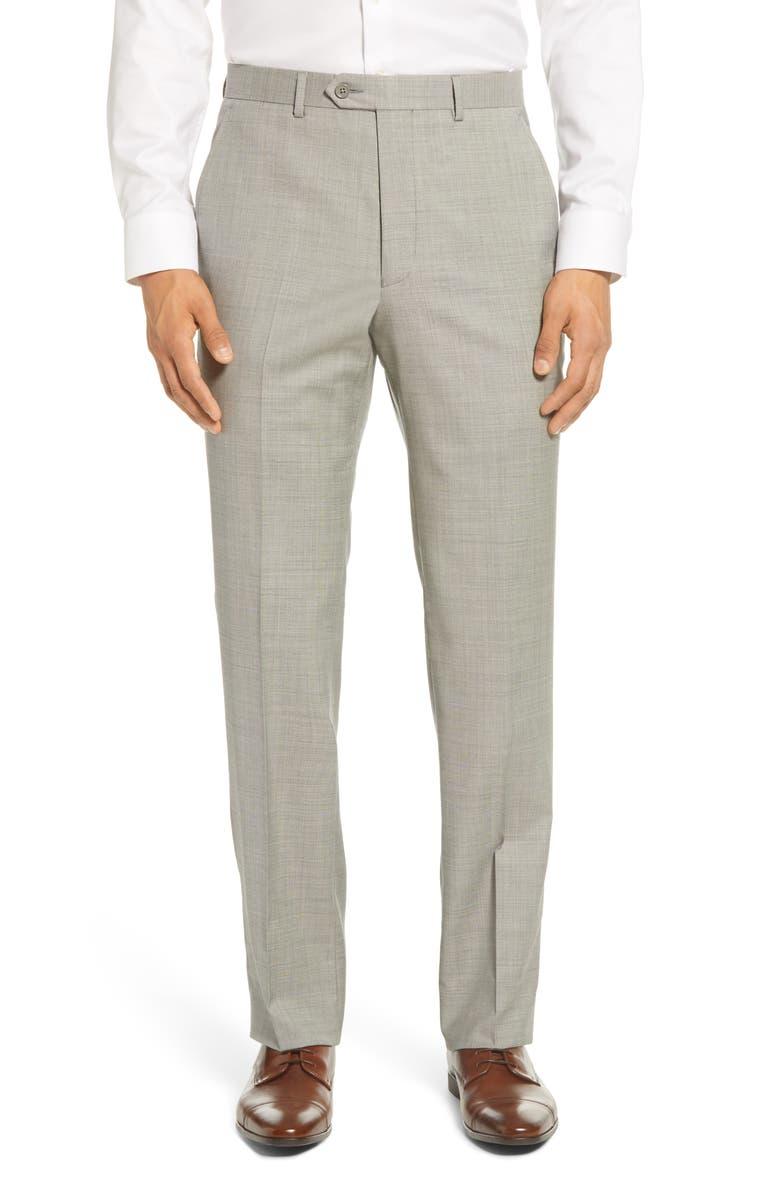 SANTORELLI Flat Front Sharkskin Stretch Wool Dress Pants, Main, color, LIGHT GREY