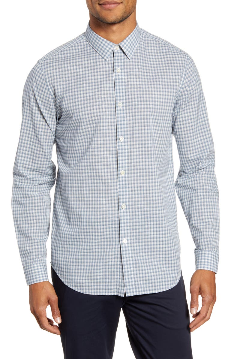 THEORY Irving Slim Fit Ghost Plaid Button-Up Shirt, Main, color, ECLIPSE MULTI
