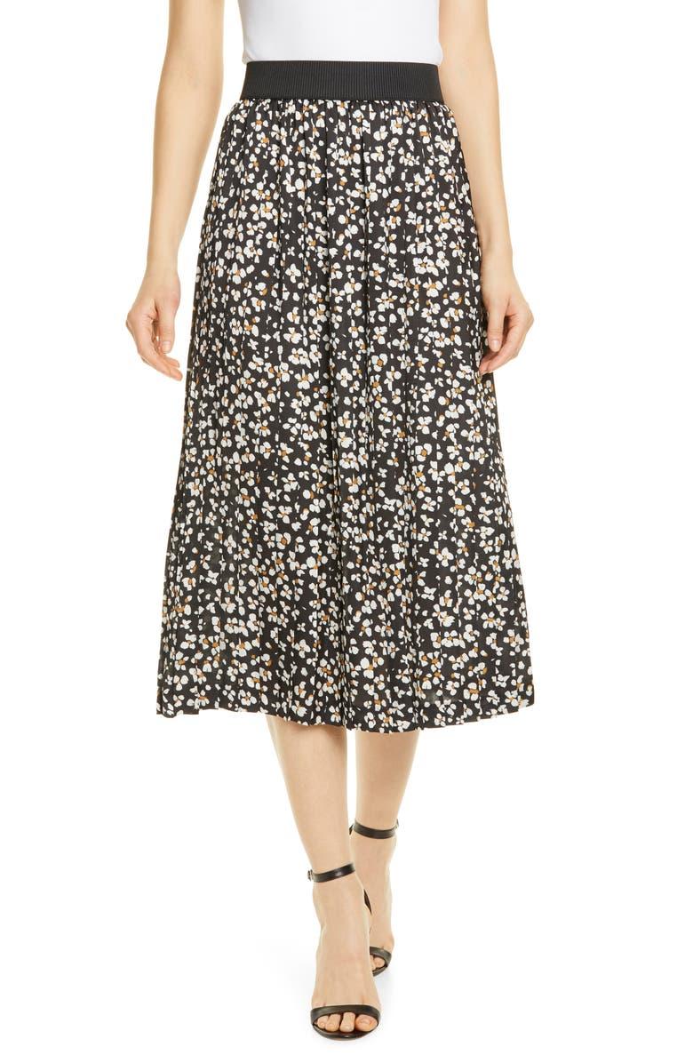 HELENE BERMAN Printed Pleated Midi Skirt, Main, color, BLACK/ WHITE FLORAL
