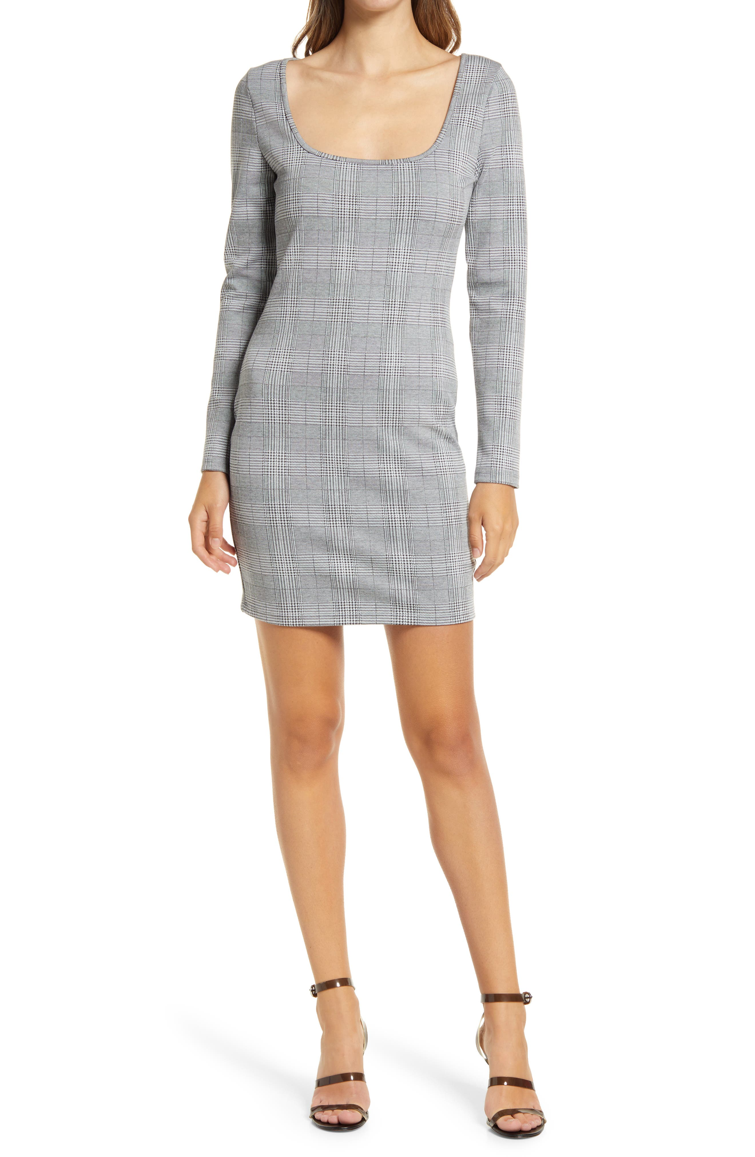 Plaid Square Neck Long Sleeve Minidress