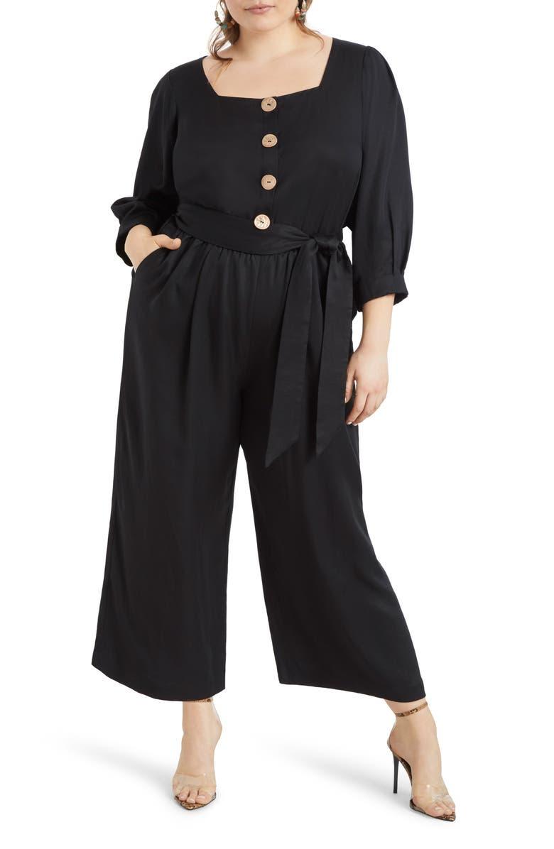 ELOQUII Button Front Crop Wide Leg Jumpsuit, Main, color, TOTALLY BLACK