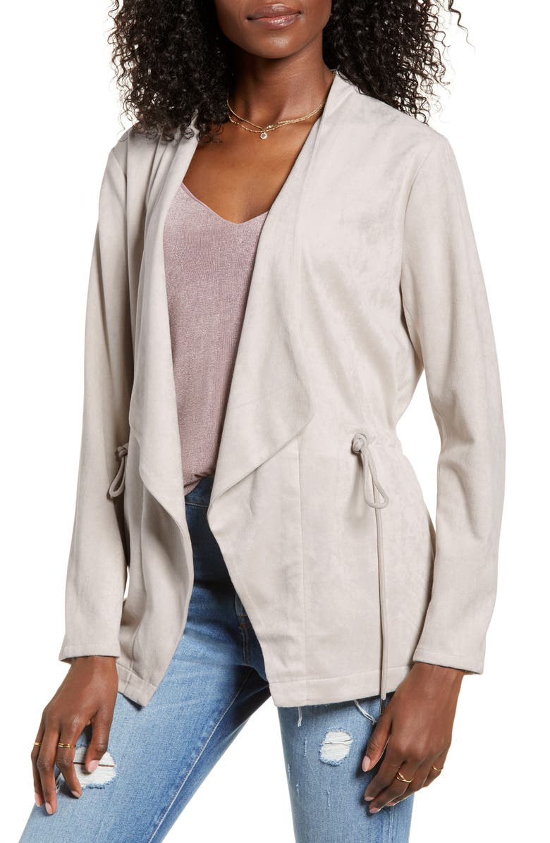 BLANKNYC Faux Suede Drapey Jacket, Main, color, OFF THE GRID