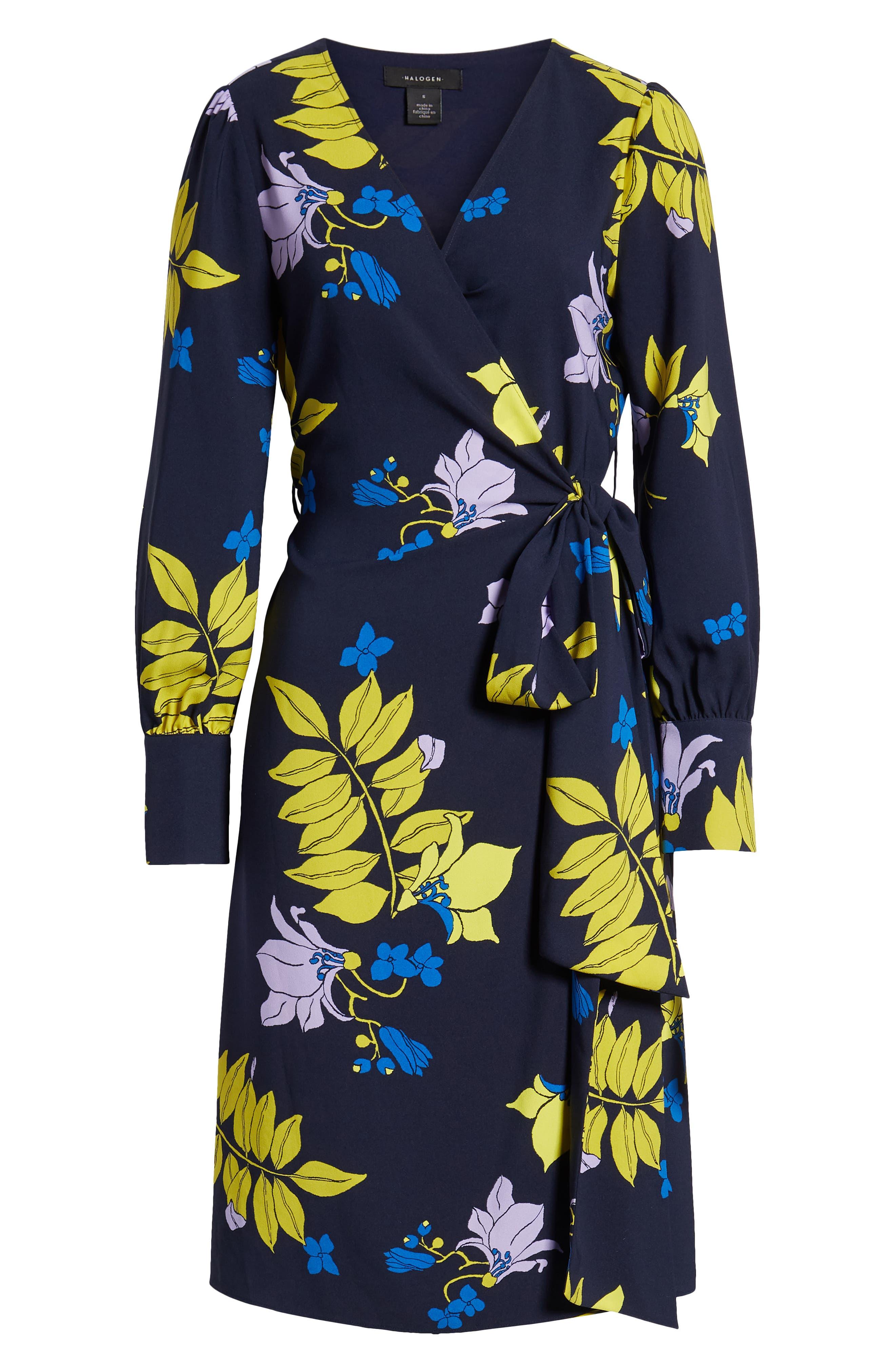 ,                             Wrap Dress,                             Alternate thumbnail 7, color,                             NAVY NATALIE FLORAL