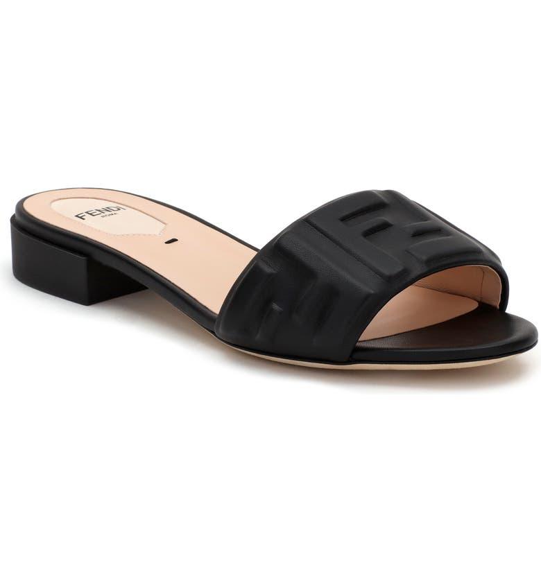 FENDI FF Embossed Logo Slide Sandal, Main, color, BLACK