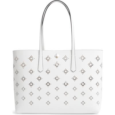 Kate Spade New York Large Molly Perforated Leather Tote - White