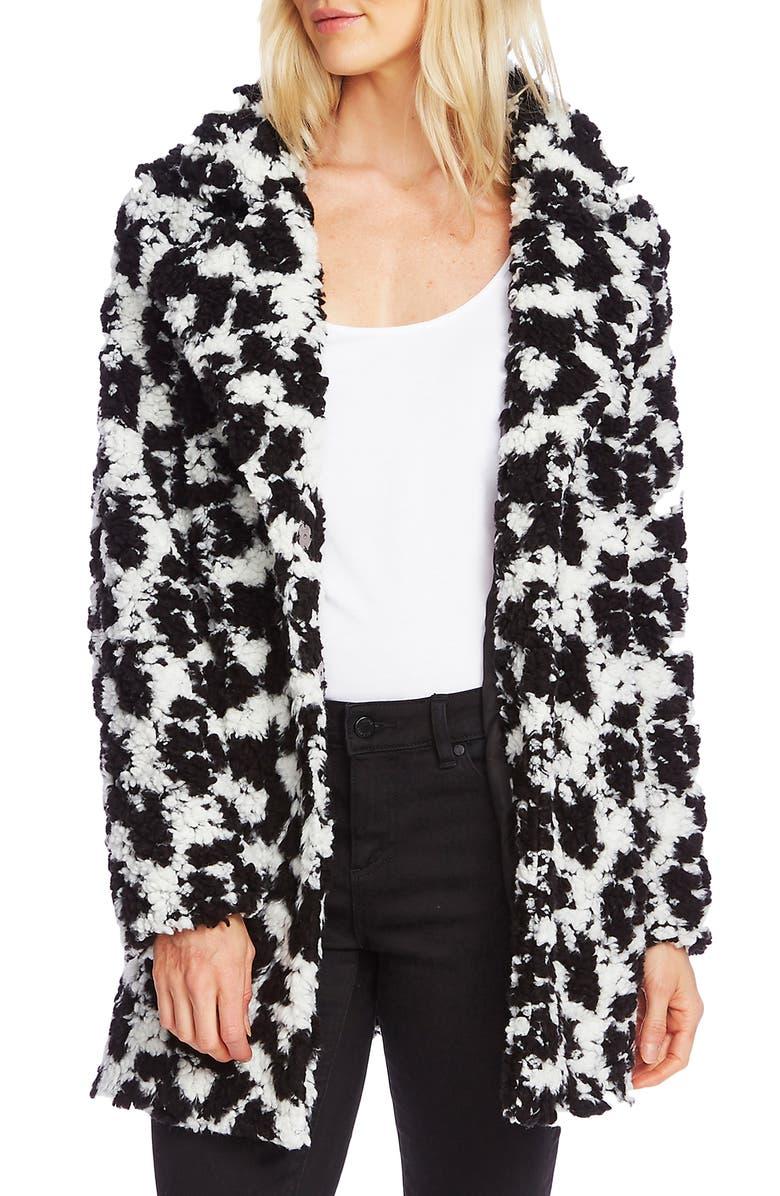 VINCE CAMUTO Dalmatian Pile Fleece Jacket, Main, color, RICH BLACK