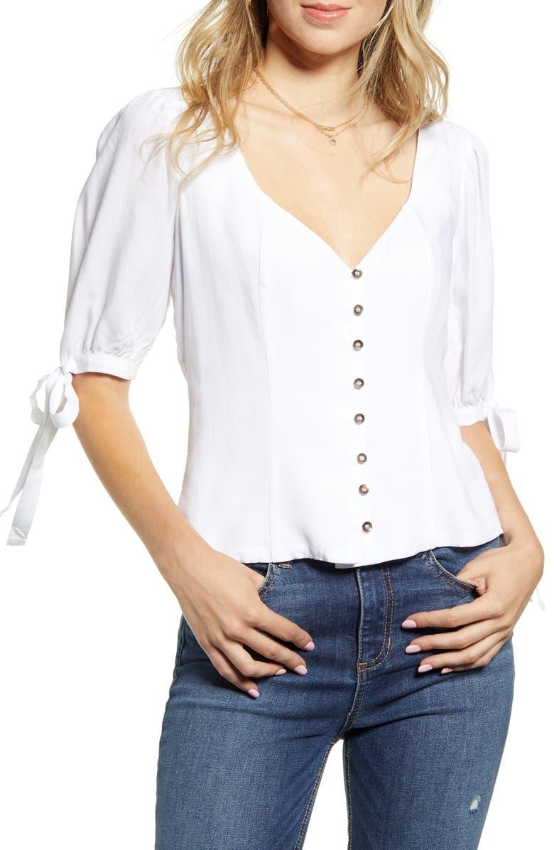 SOCIALITE Tie Sleeve Button Front Blouse, Main, color, WHITE