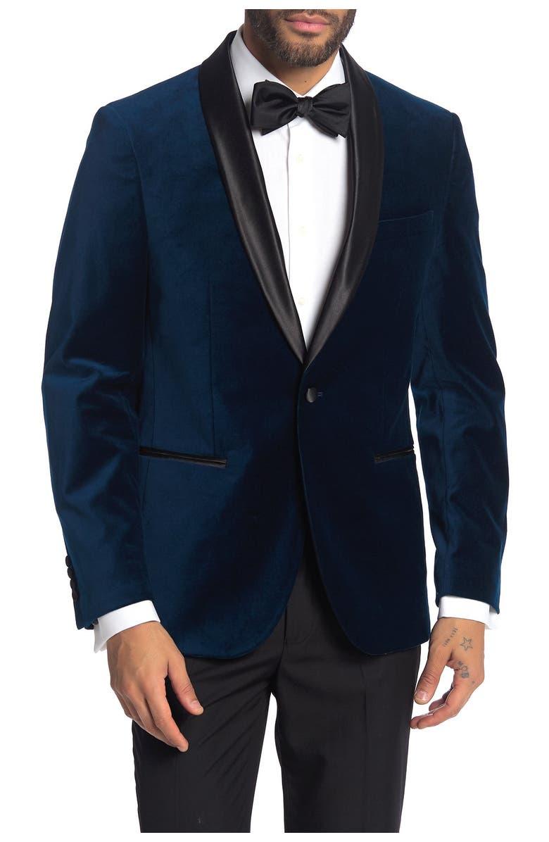 SAVILE ROW Navy Shawl Collar Single Button Velvet Suit Separate Sport Coat, Main, color, NAVY