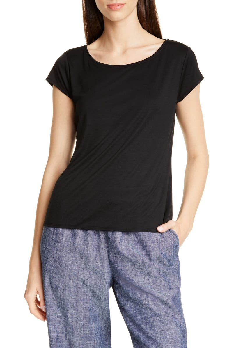 EILEEN FISHER Scoop Neck Cap Sleeve Tee, Main, color, 001