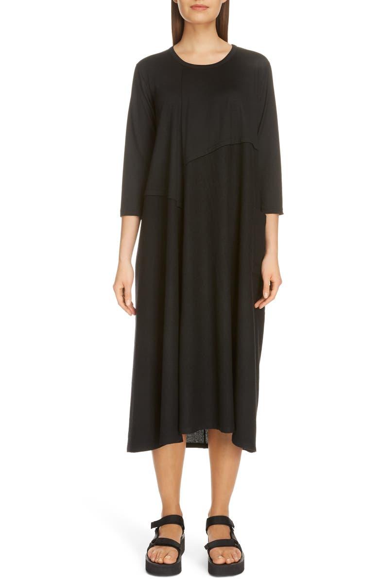 Y'S BY YOHJI YAMAMOTO Cut & Sewn Wool Midi Dress, Main, color, BLACK