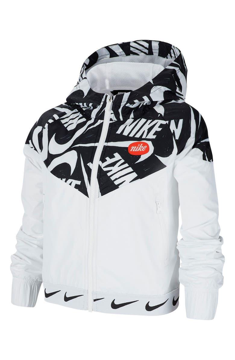 NIKE Sportswear Windrunner Hooded Jacket, Main, color, WHITE/ BLACK