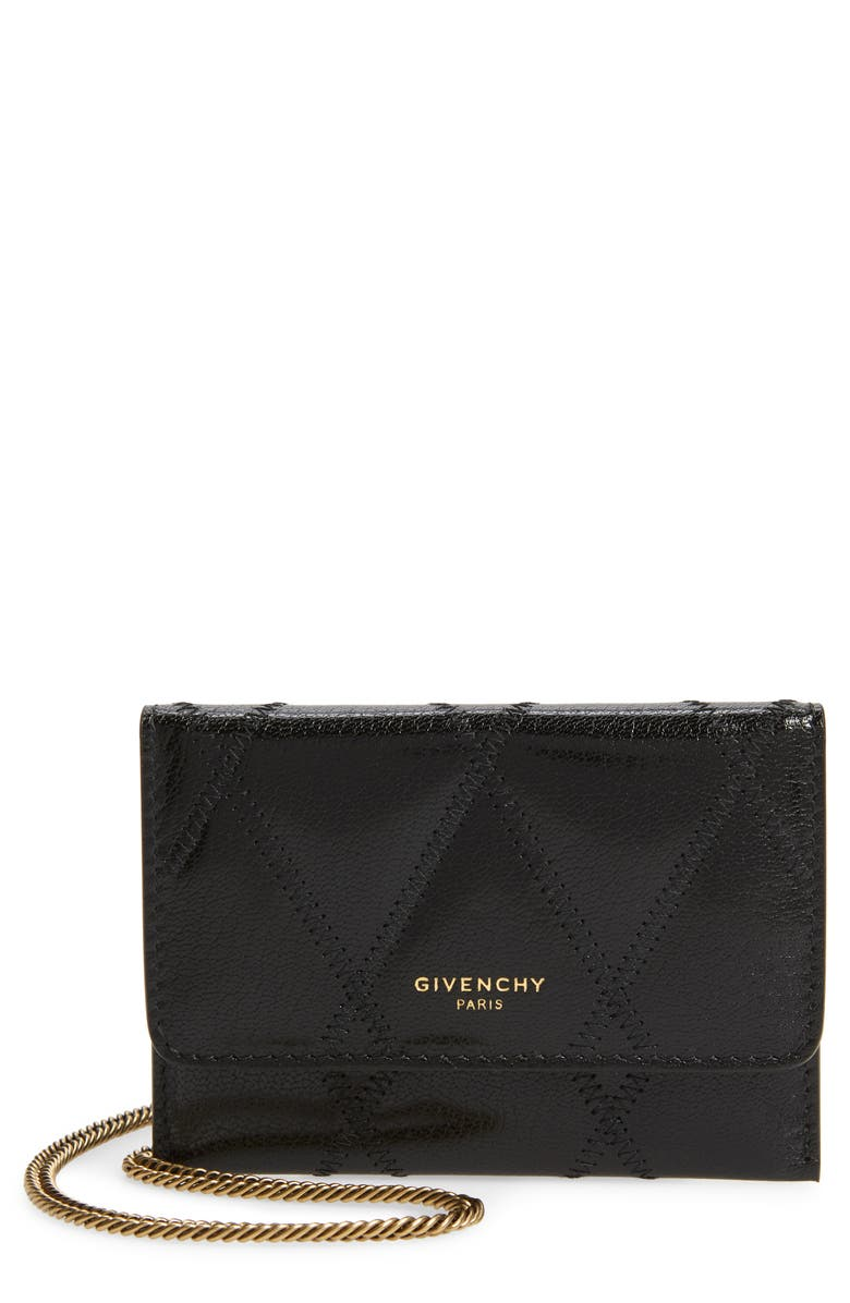 GIVENCHY Quilted Goatskin Leather Card Case on a Chain, Main, color, BLACK