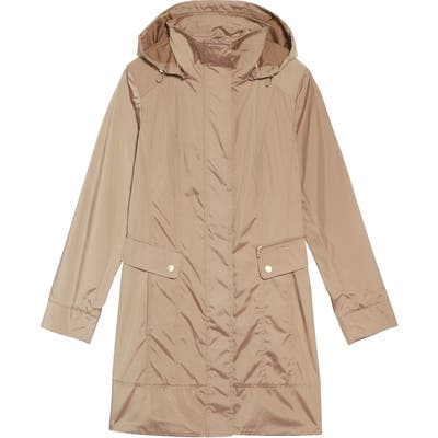 Petite Cole Haan Signature Back Bow Packable Hooded Raincoat, Beige