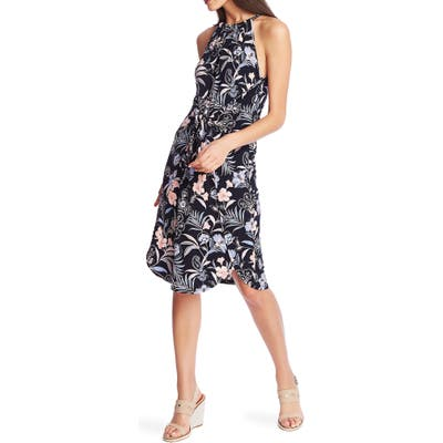 1.state Paisley Fields Halter Neck Tie Front Dress, Blue