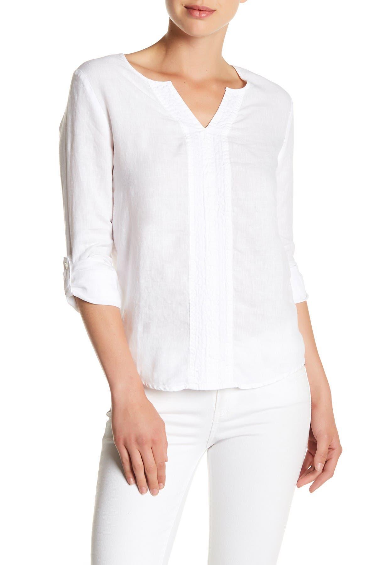 Image of Three Dots Yana Long Sleeve Linen Blouse
