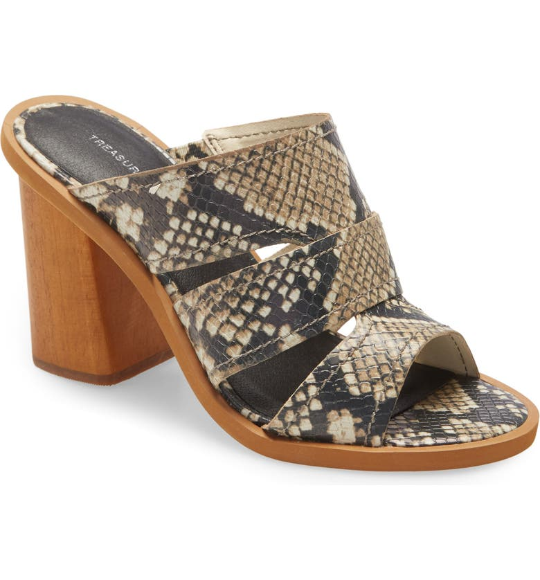 TREASURE & BOND Allie Block Heel Slide Sandal, Main, color, NATURAL SNAKE FAUX LEATHE