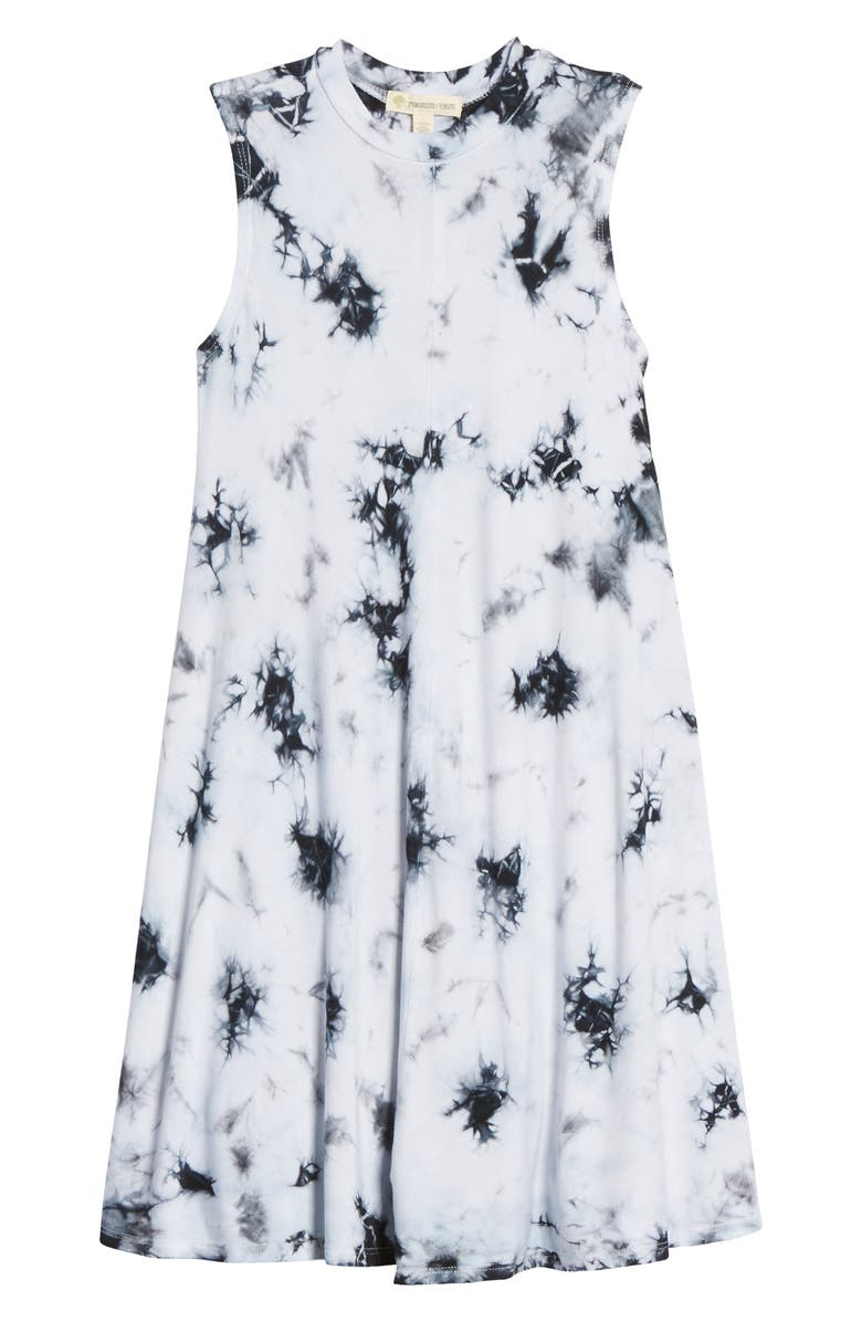 TUCKER + TATE Print Sleeveless Knit Dress, Main, color, BLACK- WHITE TIE DYE