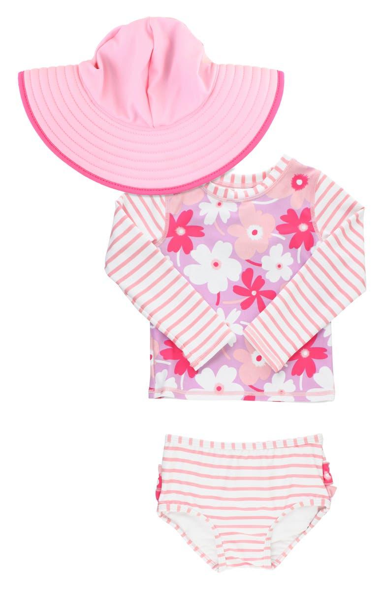 RUFFLEBUTTS Petals Two-Piece Rashguard Swimsuit & Hat Set, Main, color, WHITE