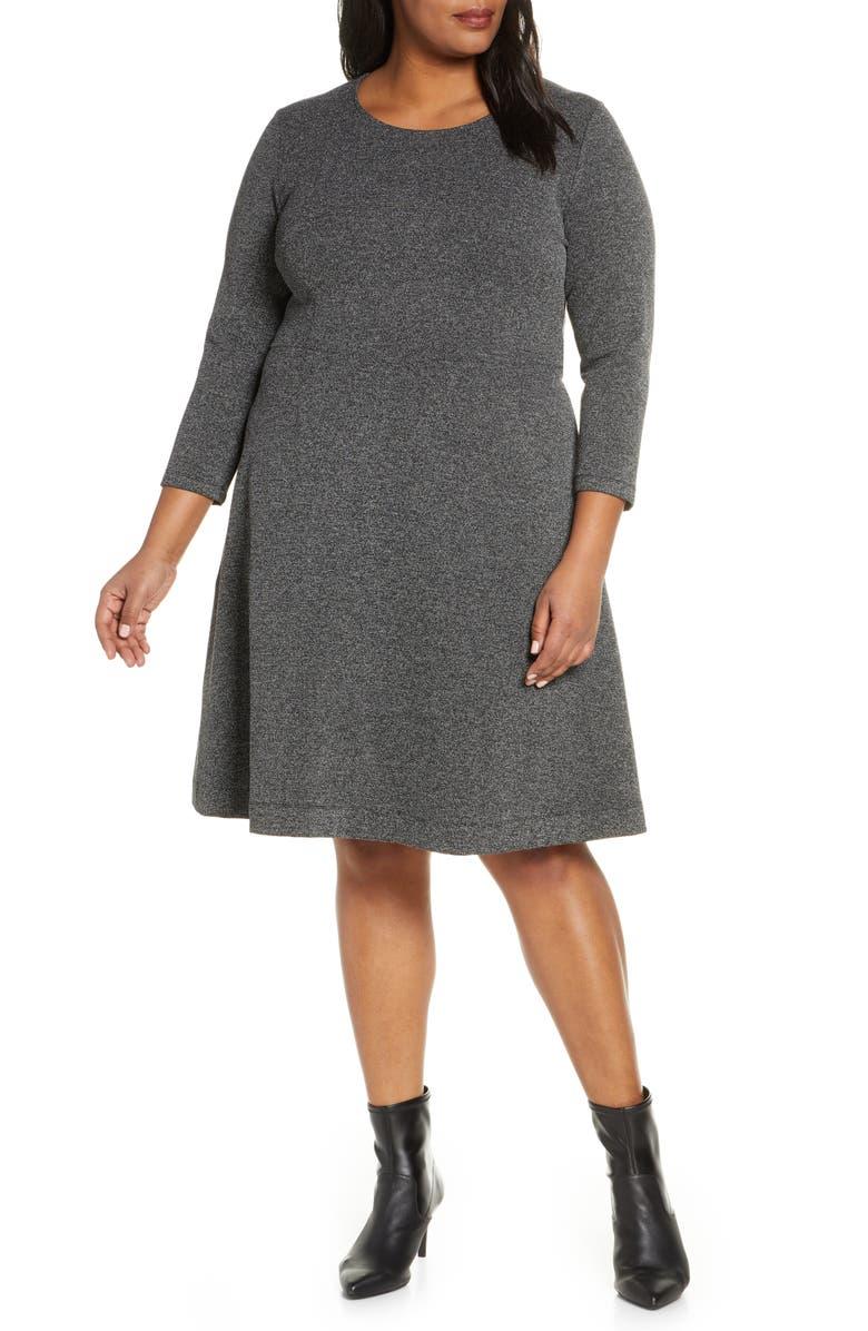 LEOTA Carly Jacquard Fit & Flare Dress, Main, color, SALT AND PEPPER