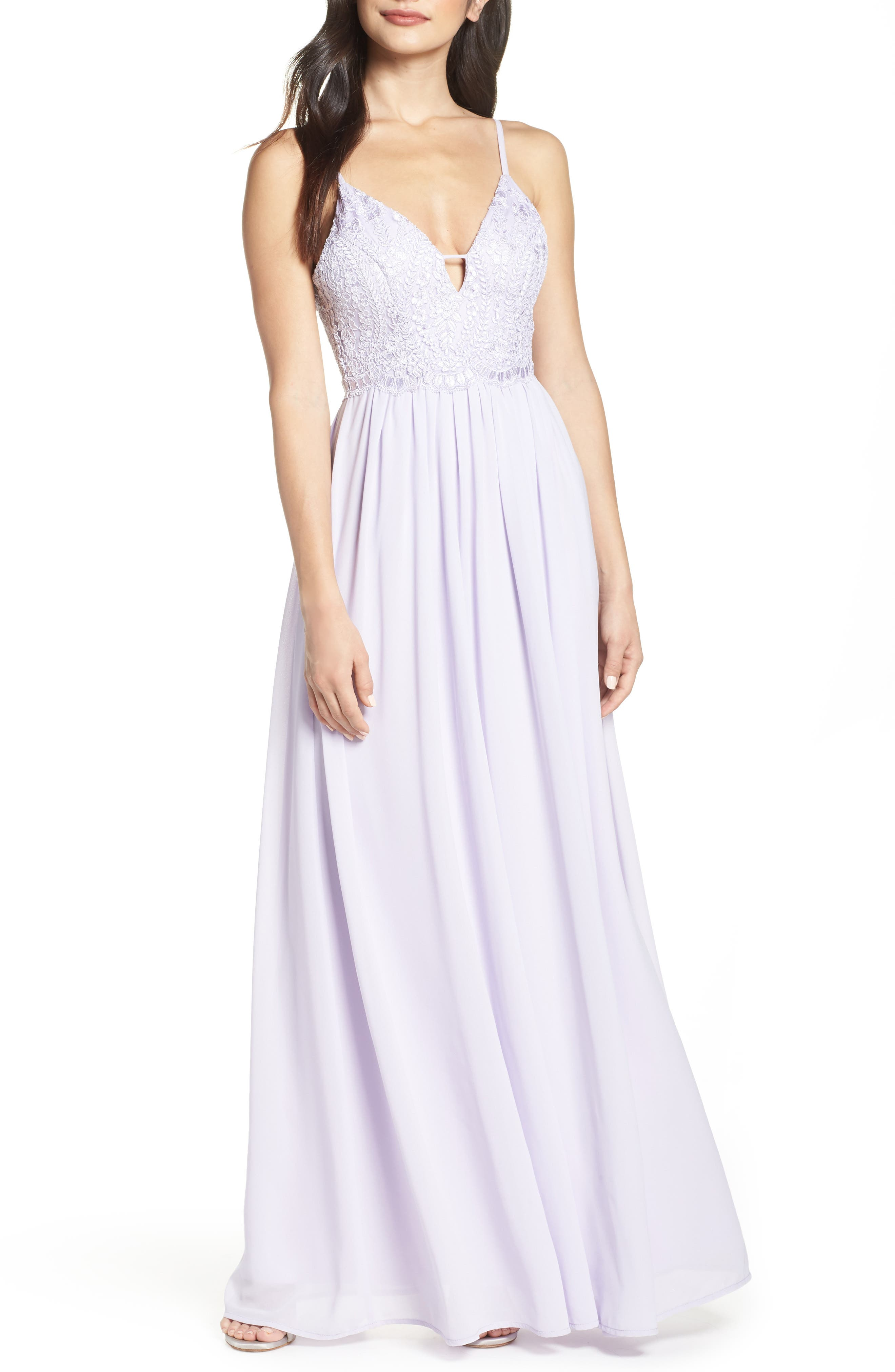 Lulus Back Tie Chiffon Evening Dress, Purple