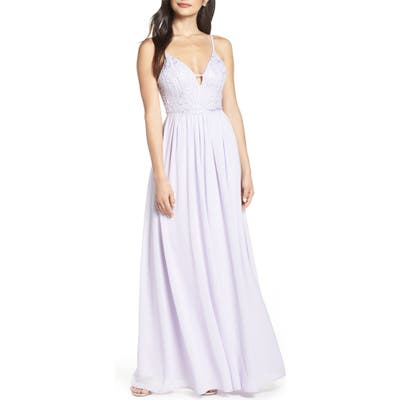 Lulus Back Tie Chiffon Evening Dress