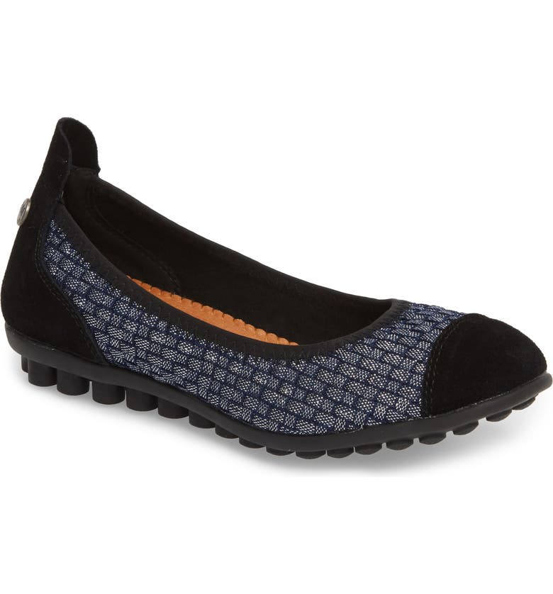 BERNIE MEV. 'Bella Me' Woven Flat, Main, color, NAVY SHIMMER FABRIC