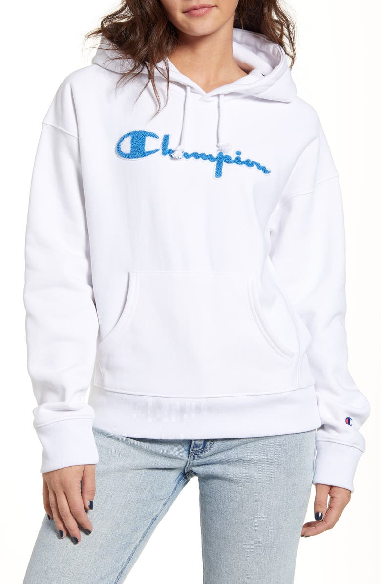 CHAMPION Reverse Weave<sup>®</sup> Chenille Logo Hoodie, Main, color, WHITE
